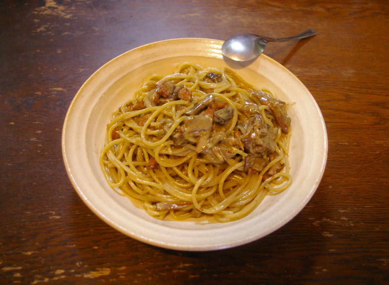 わきたが作った ポルチーニ茸とベーコンのクリームソース スパゲッティ